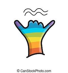 Surfer shaka gesture, hand sketch for your design. Vector...