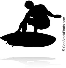Surfer Silhouette - A high quality detailed silhouette of a...