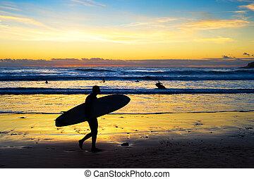 Surfer silhouette beach sunset Bali
