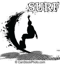 Surfer silhouette on grunge background, vector illustration