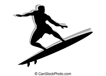 surfer, silhouette, homme