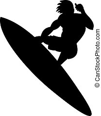 Illustration of a surfer's silhouette isolated on white background.