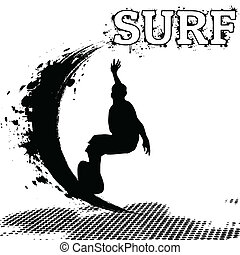 Surfer silhouette on grunge background, vector illustration