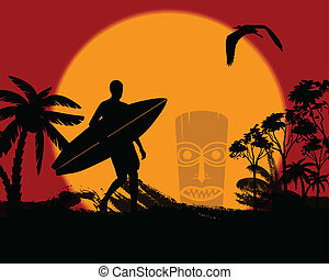 Surfer silhouette on tropical landscape