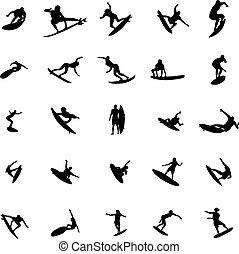 Surfer silhouette set
