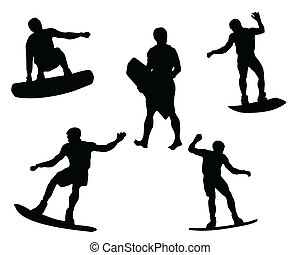 surfer silhouettes - illustration of an equipment of...