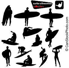 many different sufer silhouettes with high detail