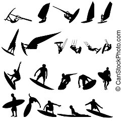 surfer silhouettes set - large set of surfer silhouettes...