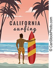 Surfer standing with surfboard on the tropical beach back view. California surfing palms ocean theme. Vector illustration isolated template poster banner