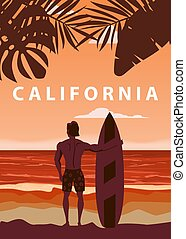 Surfer standing with surfboard on the tropical beach back view. California surfing palms ocean theme retro vintage. Vector illustration isolated template poster banner
