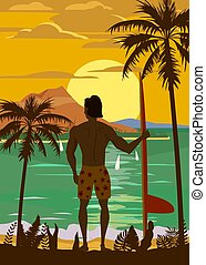 Surfer standing with surfboard on the tropical beach back view. Hawaii surfing palms ocean theme retro vintage. Vector illustration isolated template poster banner