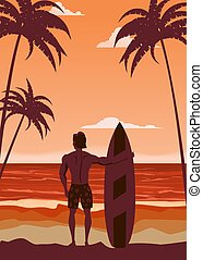 Surfer standing with surfboard on the tropical beach back view. Palms ocean surfung theme retro vintage. Vector illustration isolated template poster banner