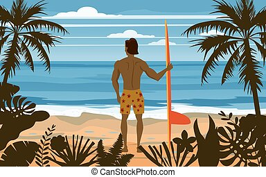 Surfer standing with surfboard on the tropical beach back view. Palms ocean surfung theme. Vector illustration isolated template poster banner