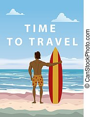 Surfer standing with surfboard on the tropical beach back view. Time to travel palms ocean surfung theme. Vector illustration isolated template poster banner