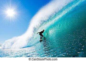 surfer, su, oceano blu, onda