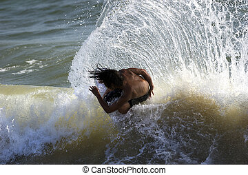 Surfer Surfboard Ocean Sea Spray