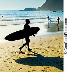 Surfer surfboard silhouette Portugal Algarve