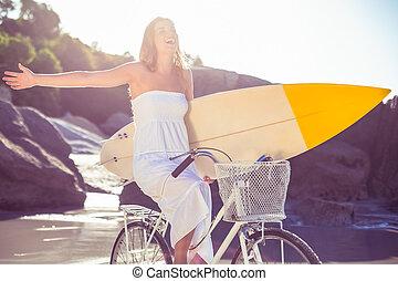 surfer, surfbrett, fahrrad, sein, sundress, schöne , besitz