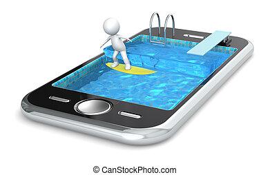 surfer, téléphone., ton, intelligent
