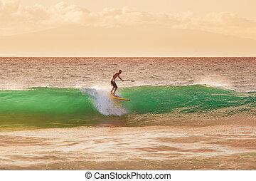 surfer, tramonto