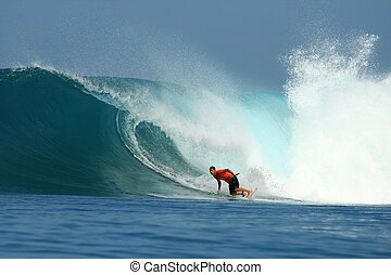 Surfer on tropical blue big wave, Indonesia