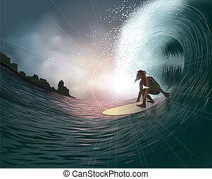 surfer, und, welle