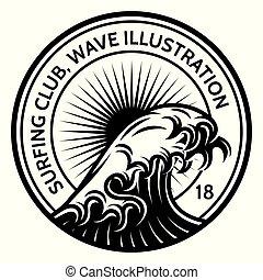 surfer, vague, eau, thème, vecteur, gabarit, monochrome
