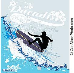 surfer, vagues
