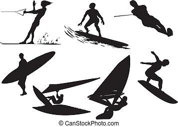 surfer, vecteur