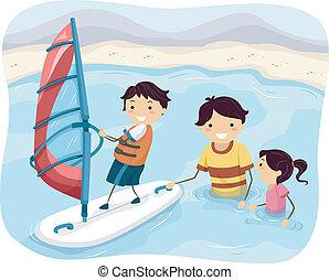 surfer, vent, famille
