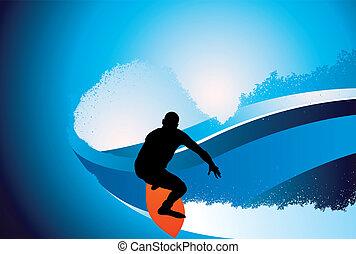 Surfer wave background
