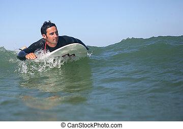 surfer, welle