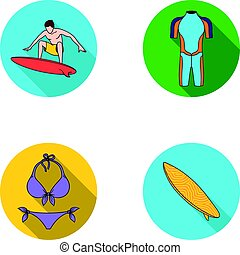 Surfer, wetsuit, bikini, surfboard. Surfing set collection icons in flat style vector symbol stock illustration web.