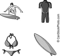 Surfer, wetsuit, bikini, surfboard. Surfing set collection icons in monochrome style vector symbol stock illustration web.