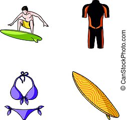 Surfer, wetsuit, bikini, surfboard. Surfing set collection icons in cartoon style vector symbol stock illustration web.
