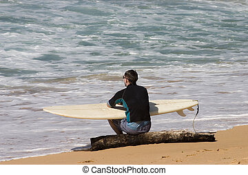 Surfer with surfing board