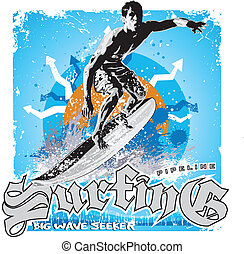 surfering big wave - illustration for shirt printed and ...