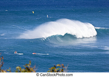A tall wave at Peahi also known as Jaws in Maui, Hawaii.