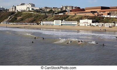 Surfers Bournemouth beach Dorset uk - Surfers on Bournemouth...