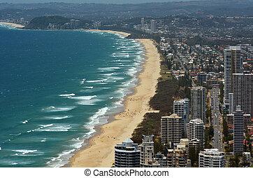 surfers, láthatár, ausztrália, -queensland, paradicsom
