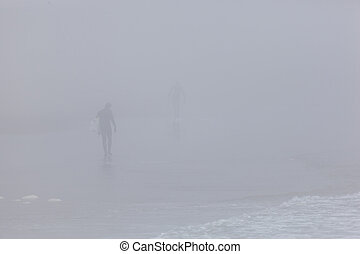 Surfers on Foggy Beach - Surfers carry their surfboards...