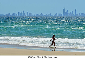 Surfers Paradise Skyline - Gold Coast Queensland Australia -...