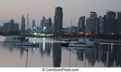 Surfers Paradise Skyline Queensland Australia - Sail boats...