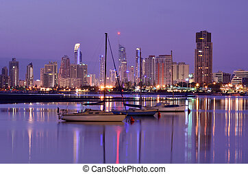 Surfers Paradise Skyline -Queensland Australia - Sail boats...