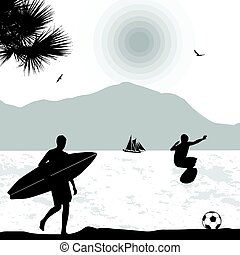 Surfers silhouette on tropical seascape