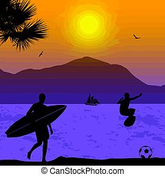 Surfers silhouette on tropical sunset