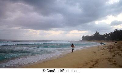Surfers Walk Ocean Shoreline Beach Cloudy Stormy Day Shore Surf