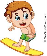 surfeur, dessin animé, jeune