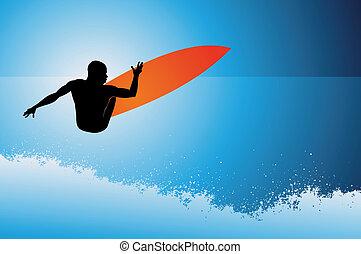 surfeur, fond, vague