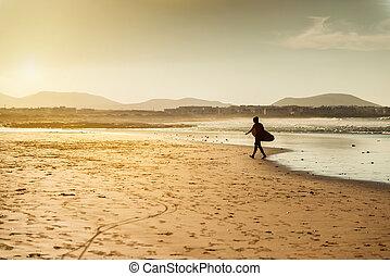 surfeur, plage coucher soleil, océan